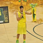 Kazemi talks to the Matthew Knight Arena crowd at senior night this past February