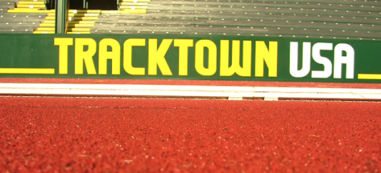 "Sing of ""Track Town USA"" inside of Historic hayward Field"