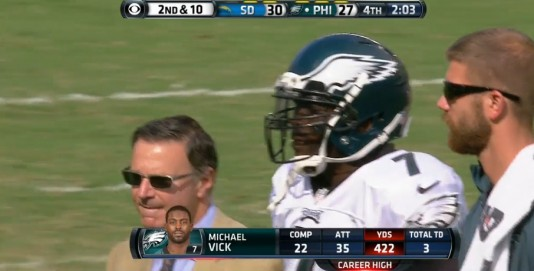 Vick leaves game 2 after official calls injury time out