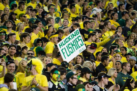 """A Oregon fan shows their """"love"""" for the Huskies"""