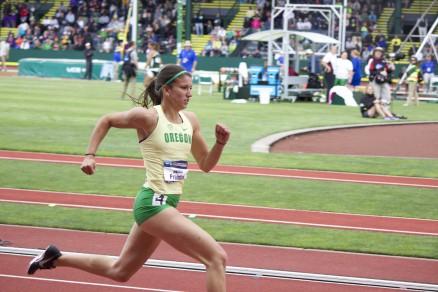 Jenna Prandini winning her preliminary heat of the women's 200 meter dash.  Photo By: Ben White