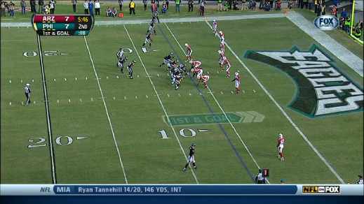 LeSean McCoy lined up the way he would for an Inside Zone Read.
