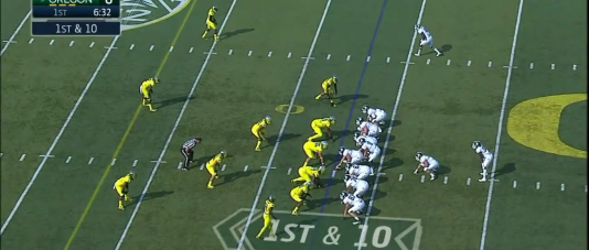 Oregon is using its 3-4 base defense.