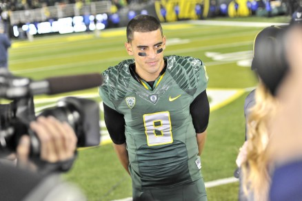 Mariota always keeping his poise in front of the media.
