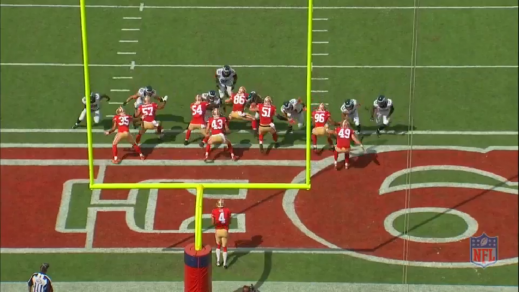 Braman (#56) attacks the right shoulder of the 49ers long snapper (#86). The long snapper is slow out of his stance, so the 49ers right guard (#51) helps block Braman. This opens up an opportunity for Burton, who runs through the B-gap.
