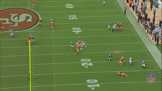 Malcolm Jenkins (#27, far right on the Eagles' 40-yard line) makes a crucial block that opens up a lane. Chris Maragos (#42, on the Eagles' 30-yard line) seals off a 49ers defender.