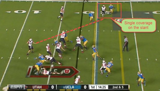 The fake to the bubble gets the receiver in single coverage