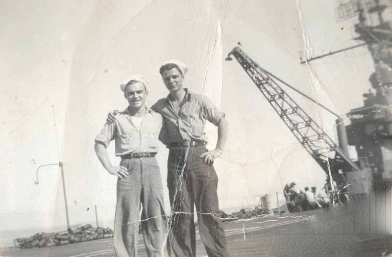 My Dad, Garfield (now 88 and a rabid Ducks fan) on the right, on the deck of the USS San Jacinto, 1944.
