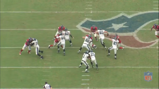 Tobin got solid push on the defensive lineman, so Kelce quickly gets himself in position to block the linebacker.