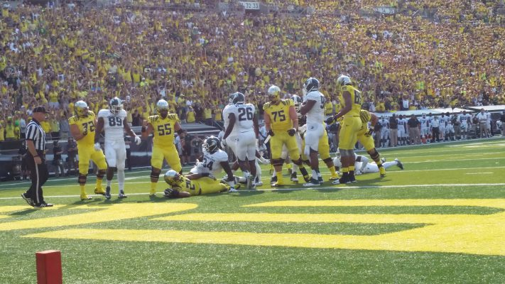The Oregon Offensive Line had its way with Michigan St.