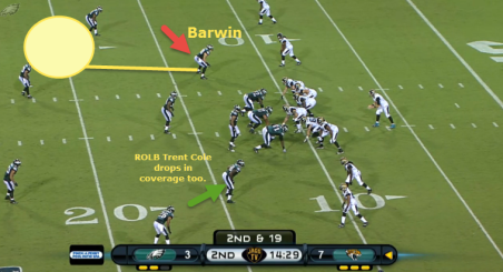 Barwin to drop into his zone.