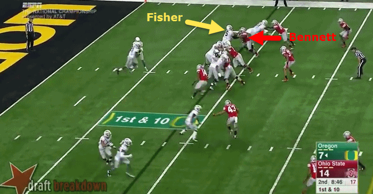 Separation is always bad for offensive linemen.