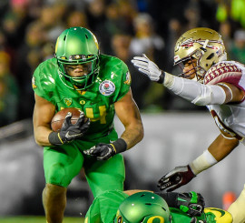 Thomas Tyner had a fantastic Rose Bowl game against Florida State and returns as part of Oregon's tremendous depth and experience at running back.