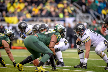 DeForest Buckner squares off against Colorado's offensive line.