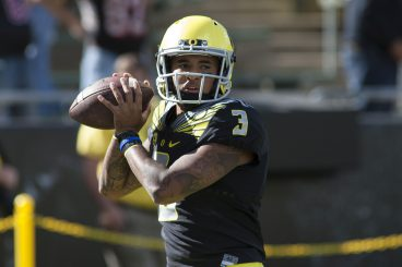 Oregon quarterback Vernon Adams (3) warms up prior to the start of the Eastern Washington game on Saturday, September 5, 2015, at Autzen stadium.