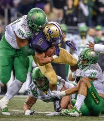 Washington running back Myles Gaskin gets a taste of Duck.