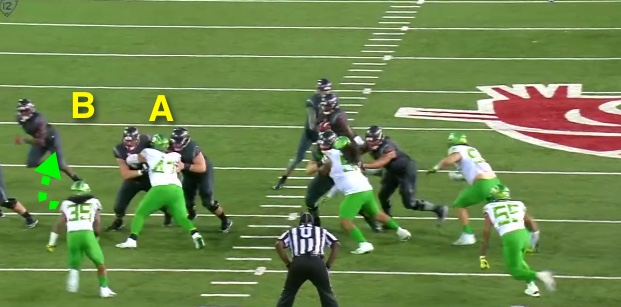 The center-guard combo block is working on the DT for Oregon.